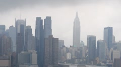 Empire State Building Clouds During Hurricane Irene Stock Video - stock footage