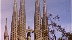 Sagrada Familia Church Antoni Gaudi Spain 1950s Vintage Film Home Movie 291 Stock Footage