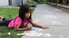 Stock Video Footage of Cute Asian Girl Doing Sidewalk Art