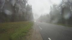 Rain road Stock Footage