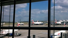 London Heathrow Airport Terminal 03 Stock Footage