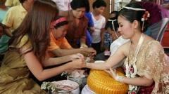 Thai traditional wedding ceremony Stock Footage