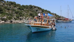 Pleasure yacht. Turkey, Kekova-Simena Region Stock Footage