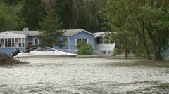 Boat & Mobile Home after hurricane - stock footage