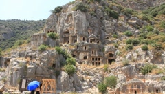 Rock-cut tombs of the ancient Lycian necropolis. Myra (Demre), Turkey Stock Footage