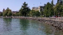 Lake Geneva Lac Leman Coast Lasuanne Switzerland Ouchy 01 Stock Footage
