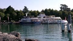 Lake Geneva Lac Leman Lausanne Port Stock Footage