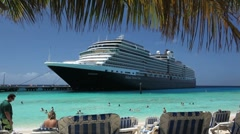 Cruise ship near beach Stock Footage