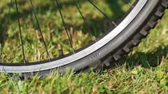 Air pressure checking for bicycle tyre Stock Footage