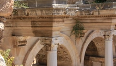 Ancient gate of Roman emperor Adrian at Antalya city center, Turkey - stock footage