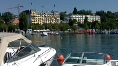 Lausanne Switzerland Port Ouchy 01 Stock Footage