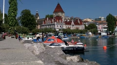 Lausanne Switzerland Port Ouchy 02 Stock Footage