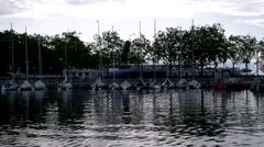 Port at Lake Geneva Lac Leman Stock Footage