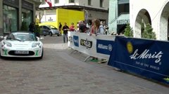 Electro Tesla Car during E-Miglia Rallye, St.Moritz, Switzerland Stock Footage