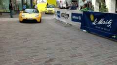 Electro Sports Car during E-Miglia Rallye, St.Moritz, Switzerland Stock Footage