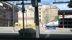 Looking through Train Window Switzerland 16 Geneva Station Stock Footage