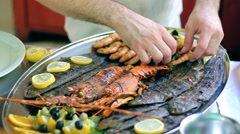 Delicous Seafood Meal Stock Footage