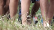 People walking in the lawn Stock Footage