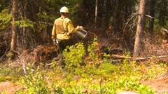 mountain forest fire, in the fire #95 fireworker torcher debris - stock footage