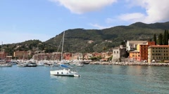 Santa Margherita Ligure, Italy, with sea and sailing boats Stock Footage