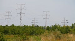 Industrial View 05 electric poles Stock Footage