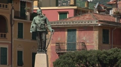Statue of Columbus in Santa Margherita, Italy Stock Footage