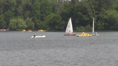 Sailing Boat, Park , Recreation, Water Sport Stock Footage