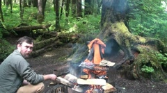 Camping  rain forest alaska Stock Footage