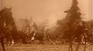 Stock Video Footage of AMERICAN CIVIL WAR BATTLEFIELD CAVALRY 1864 (Vintage Old Film Home Movie)