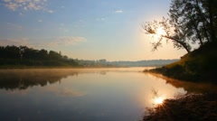 Landscape with sunrise over river Stock Footage