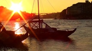 Harbour Sunset with boat Stock Footage