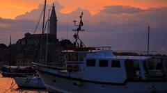 Rovinj city on sunset, Croatia Stock Footage