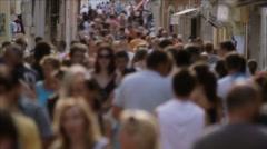 Crowded street - tourists in Croatia Stock Footage