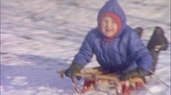 BOY ON SLED Downhill Child Snow Winter 1950s Vintage Film 8mm Home Movie 321 - stock footage