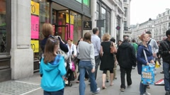 Shopping in Oxford Street, London - stock footage