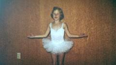 Girl Dancing Tutu BALLET Costume Dance Ballet 1950s Vintage Film Home Movie 326 - stock footage