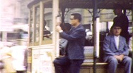 Stock Video Footage of RIDERS San Francisco Cable Street Car CALIFORNIA AVE 1960 Vintage Home Movie 334
