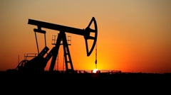 HD Fossil Fuel Energy, Oil Pump Industry, Old Pumping Unit, Jack Pump, Sunset Stock Footage