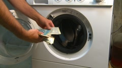 Concept, money laundering (humour), #4 various currencies Stock Footage