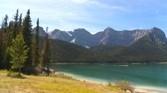 locations, Upper Kananaskis Lake Alberta, pan - stock footage