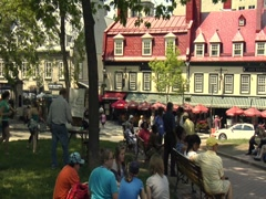 Artist Sketching at Place d'Armes, Quebec City Stock Footage