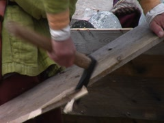 L'Anse au Meadows- Boat Building Demonstation Stock Footage