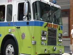 Fire and Rescue Truck in Bermuda Stock Footage