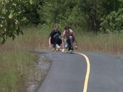 Two Skateboarders on Long Boards 2 Stock Footage