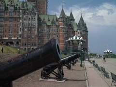 Stock Video Footage of Cannons at Chateau Frontenac- Quebec City, Canada