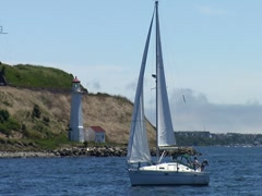 Sailboat in Halifax Harbor 2 - stock footage