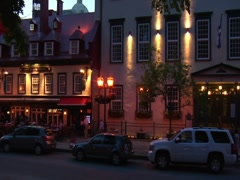 Place d'Armes - Quebec City at Night Stock Footage
