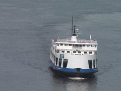 Quebec to Levis Ferry- Arriving Quebec City Stock Footage
