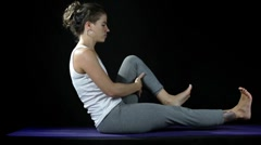 Yoga moves and poses studio shoot Stock Footage