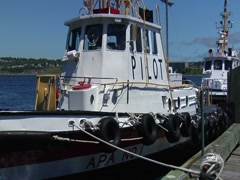 Pilot Boats at dock- Halifax Harbor Stock Footage